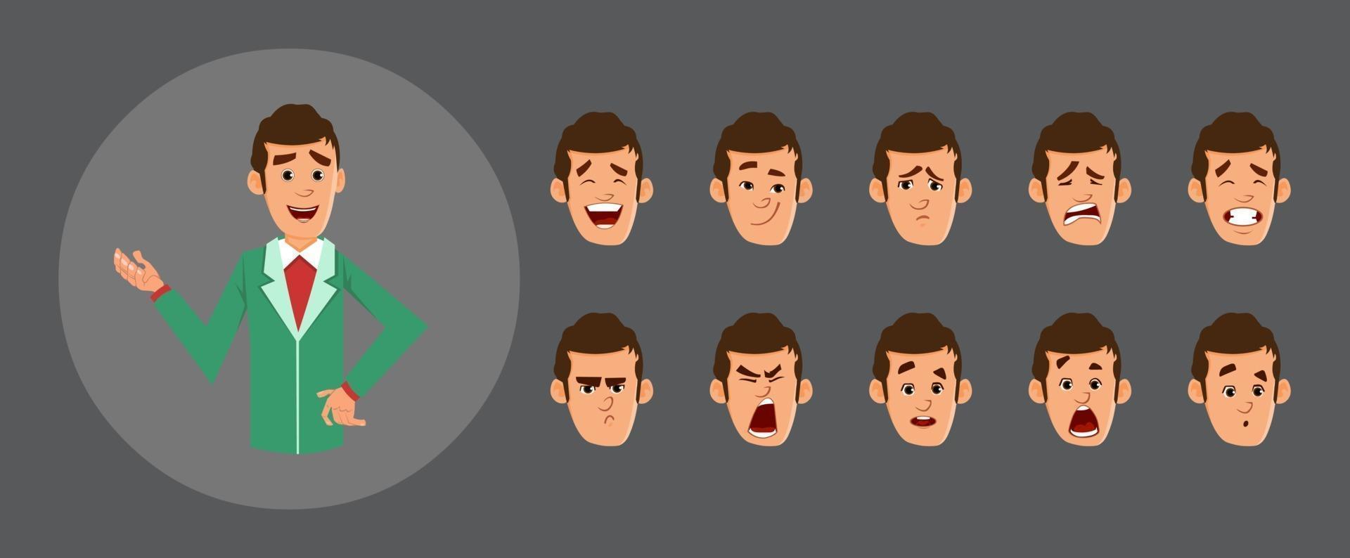 avatar simpatico uomo d'affari con varie emozioni facciali e sincronizzazione labiale. carattere per l'animazione personalizzata. vettore