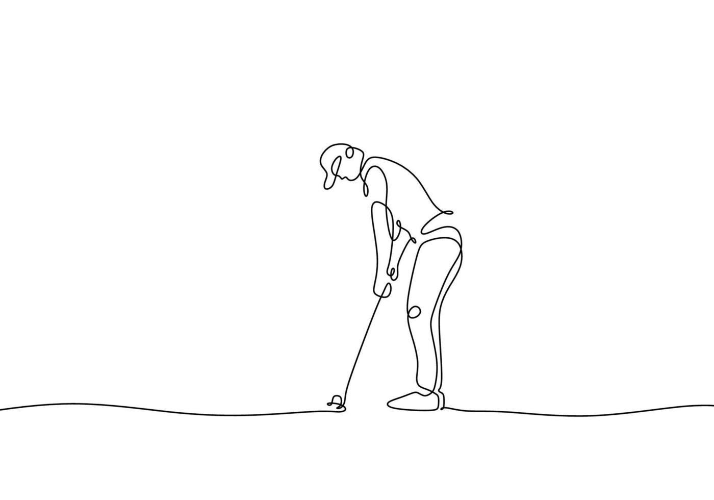 disegno continuo di un uomo che gioca a golf vettore