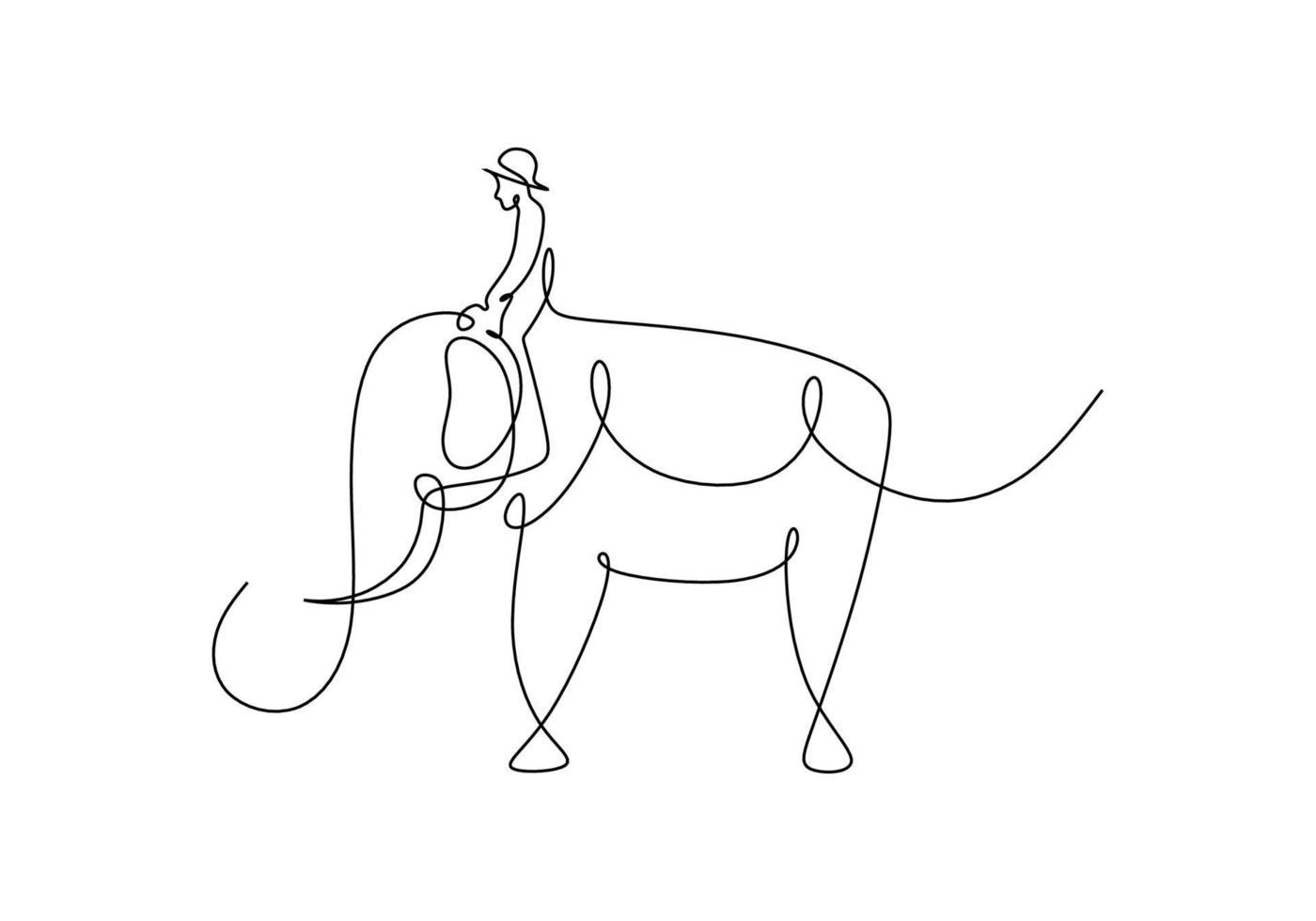 disegno continuo di una linea di uomo che cavalca un elefante vettore