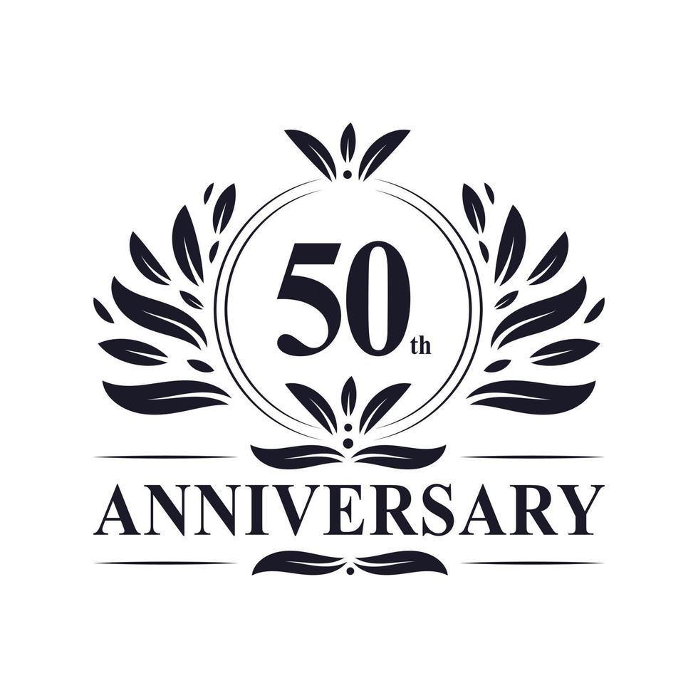 Celebrazione del 50 ° anniversario, lussuoso design del logo dell'anniversario di 50 anni. vettore
