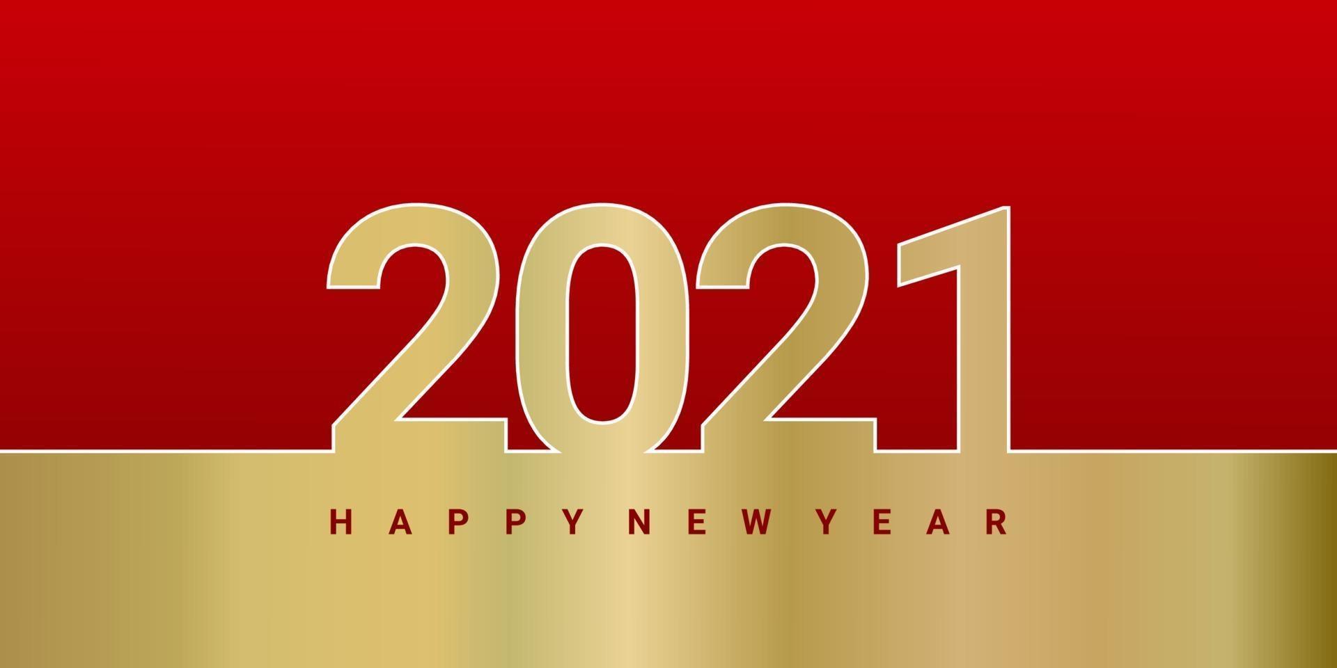 felice anno nuovo colore dorato 2021 su sfondo rosso. modello di sfondo minimalista elegante testo oro. vettore