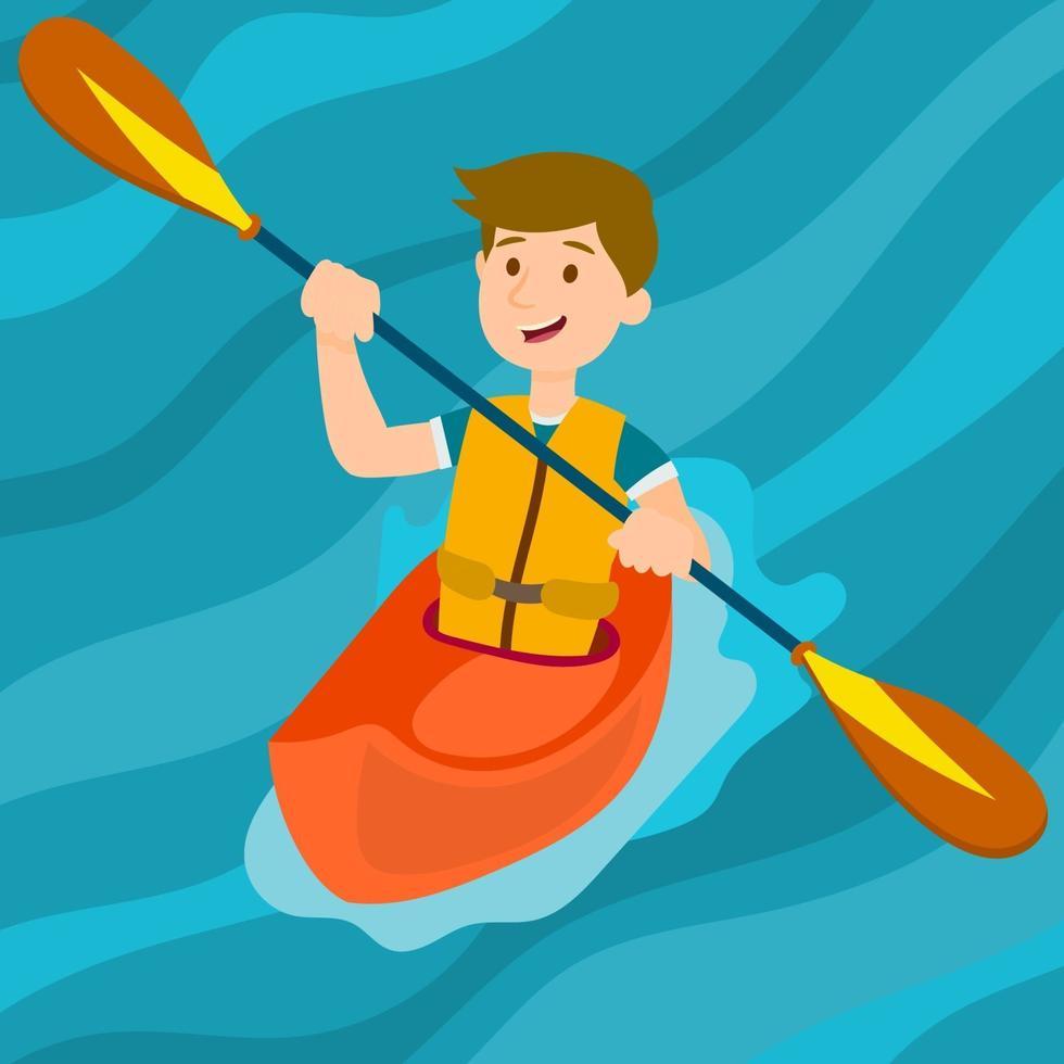 bambino su un kayak e tenendo la pagaia vettore