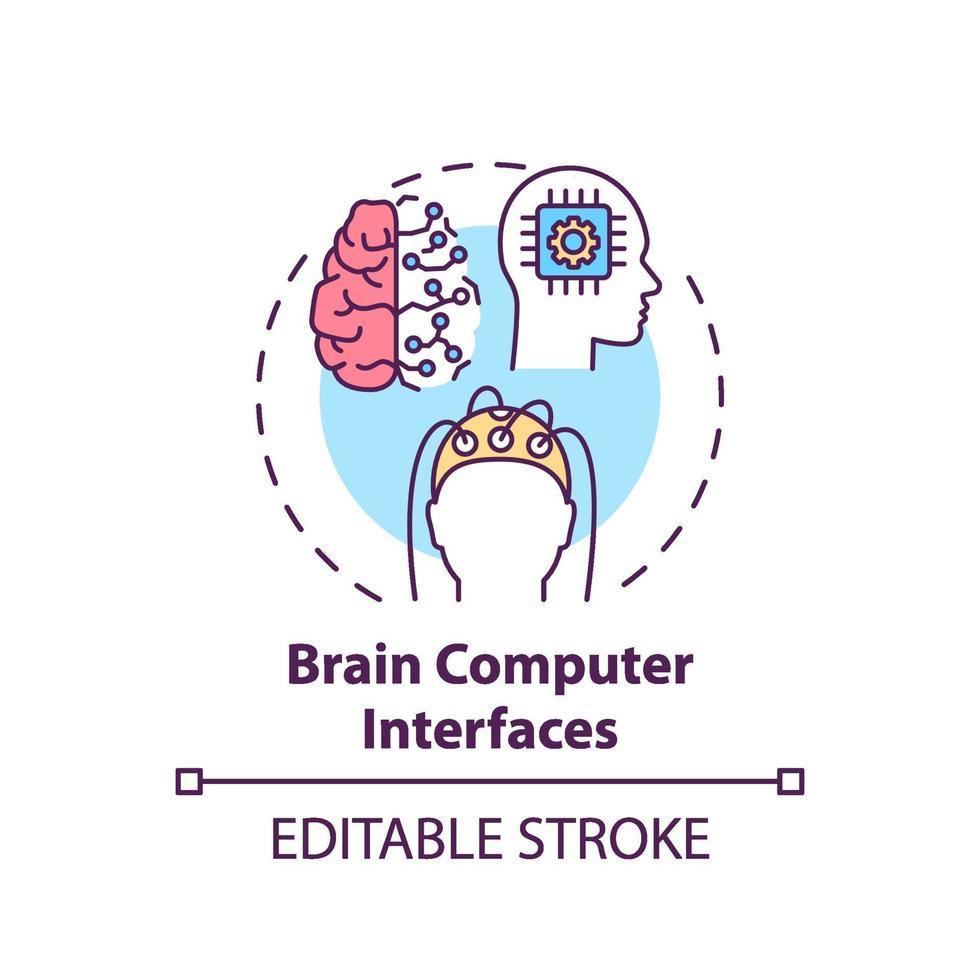 icona del concetto di cervello computer interfacce vettore