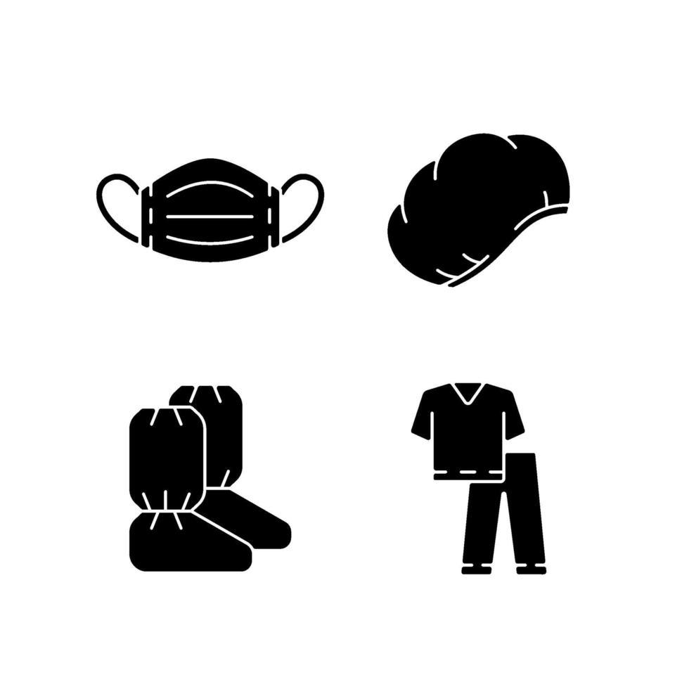 Icone nere del glifo dell'attrezzatura medica usa e getta impostate su uno spazio bianco vettore