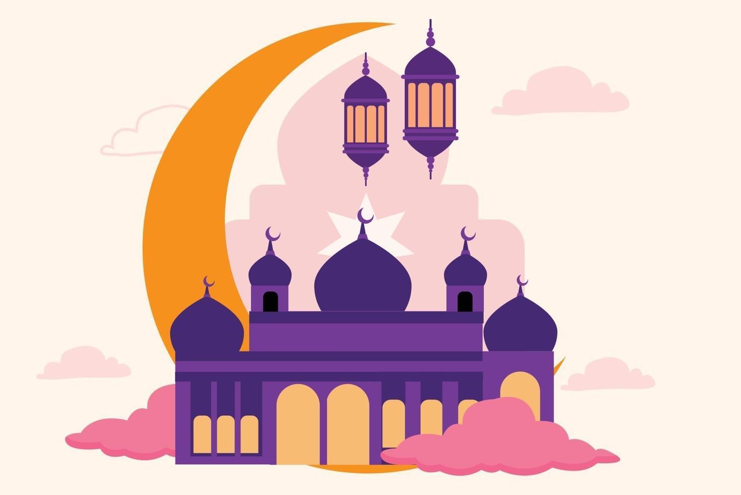 illustrazione realistica della moschea vettore