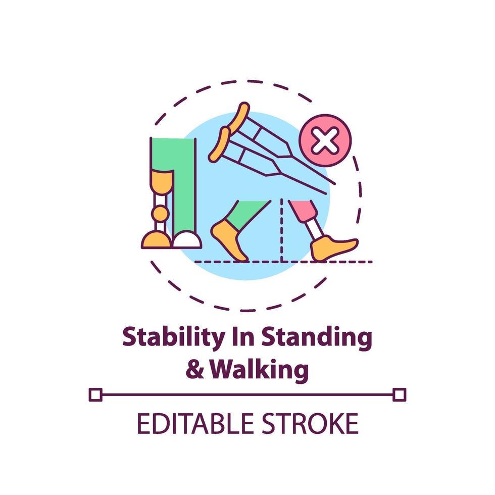 stabilità nell'icona del concetto di piedi e in piedi vettore