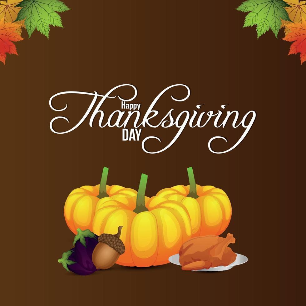 felice giorno del ringraziamento sfondo con zucca e foglia d'autunno vettore
