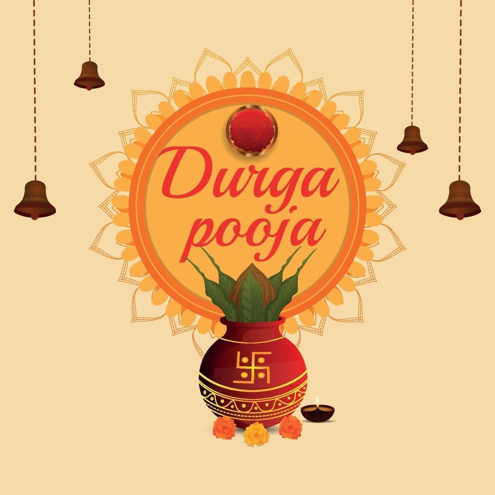 concetto di design piatto celebrazione durga pooja con kalash tradizionale vettore