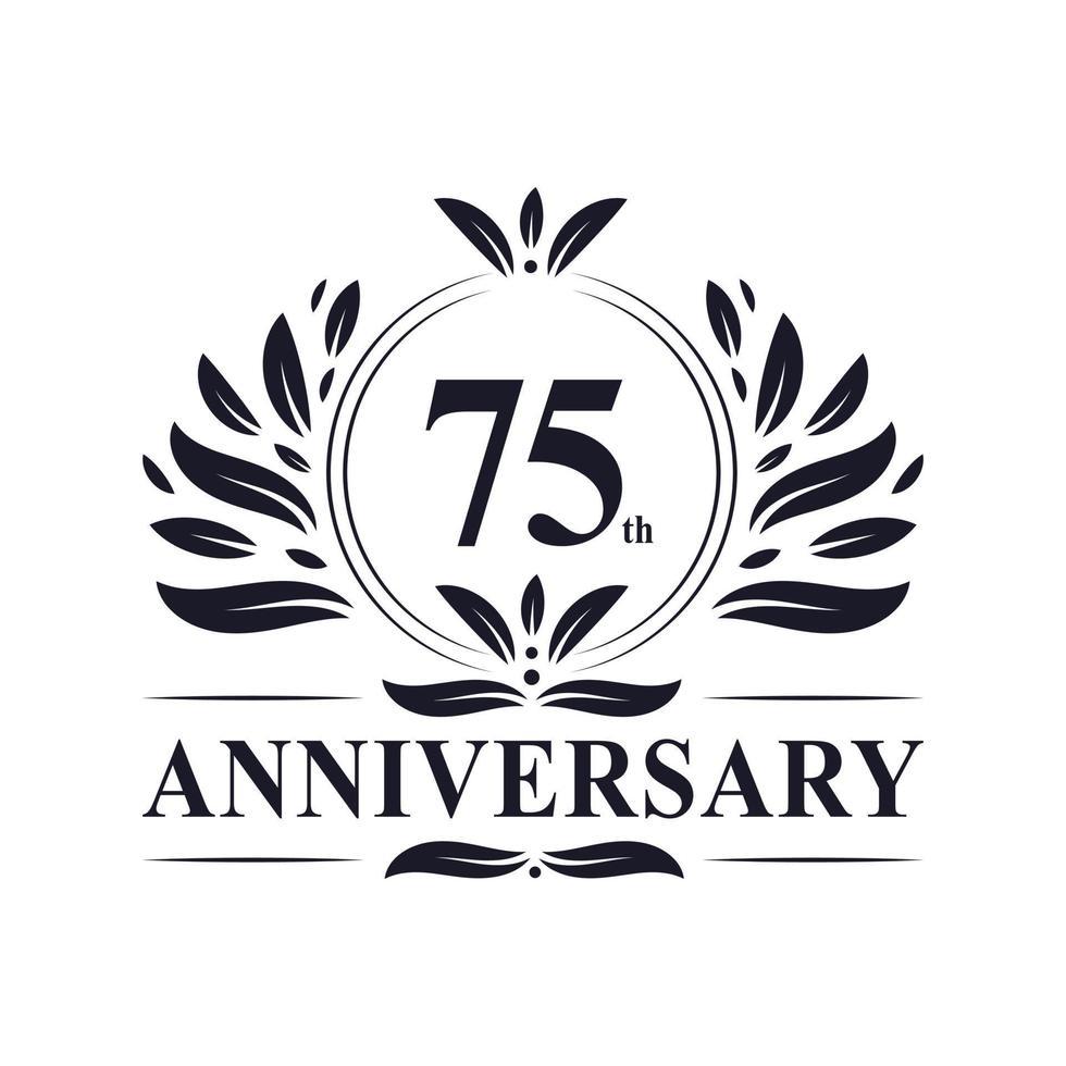 Celebrazione del 75 ° anniversario, design lussuoso del logo dell'anniversario di 75 anni. vettore