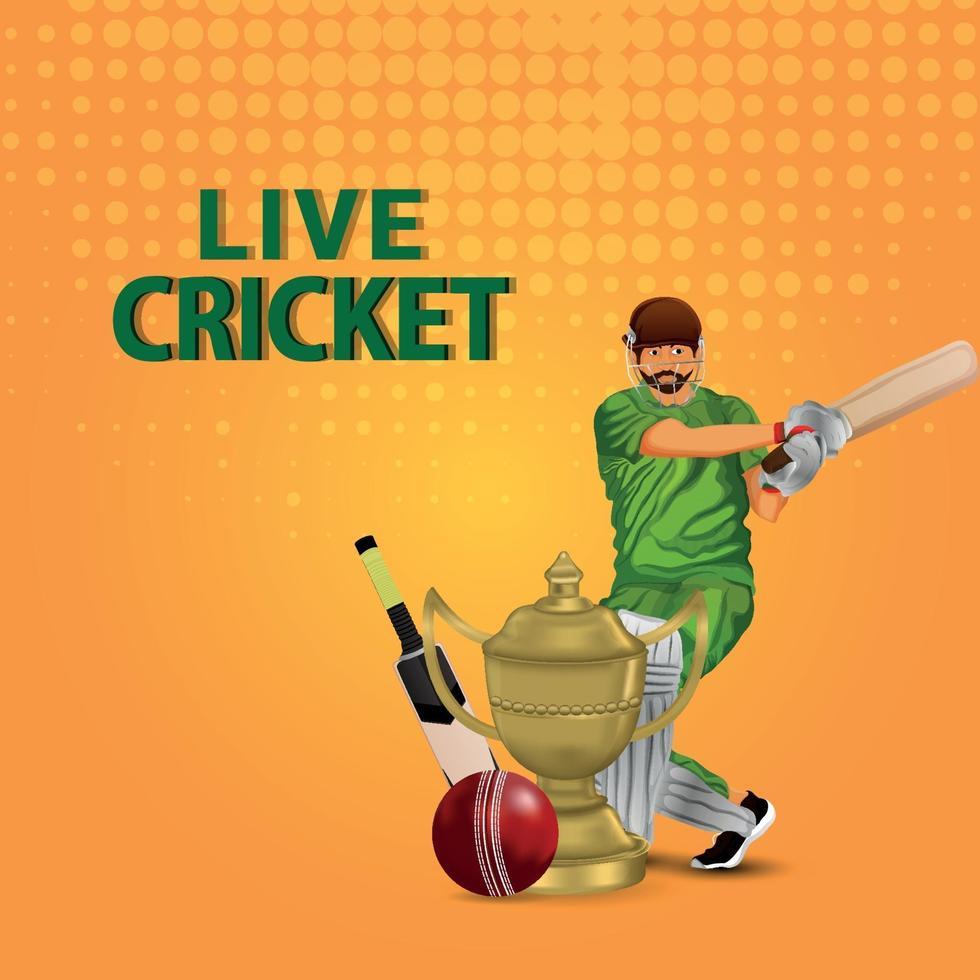 illustrazione vettoriale di campionato di cricket dal vivo con giocatore di cricket con attrezzatura da cricket