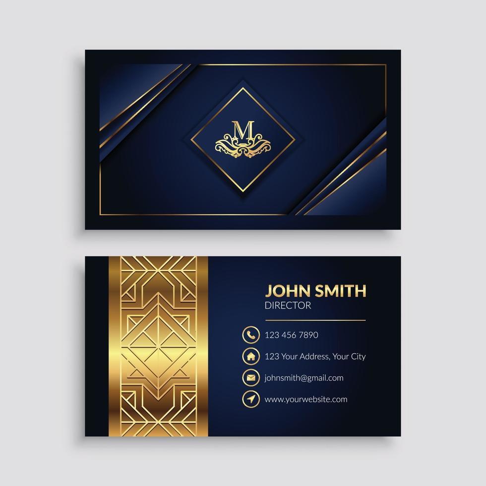 modello di biglietto da visita blu scuro e dorato di lusso vettore