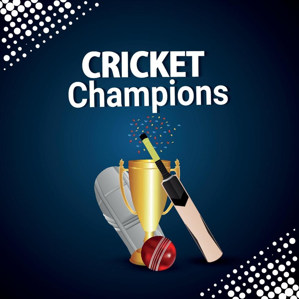 partita di campionato di cricket con attrezzatura da cricket e sfondo vettore