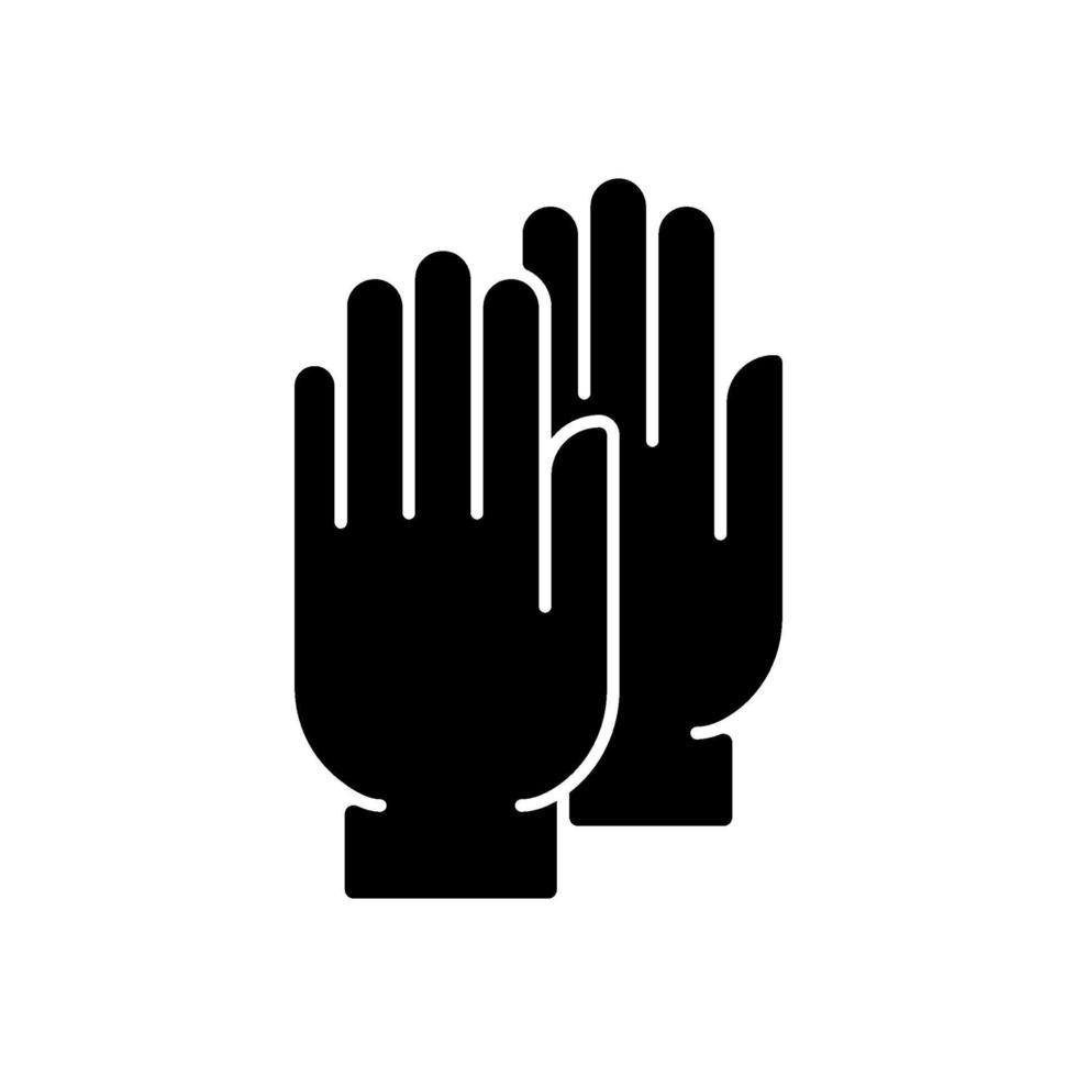 icona del glifo con guanti medicali neri vettore