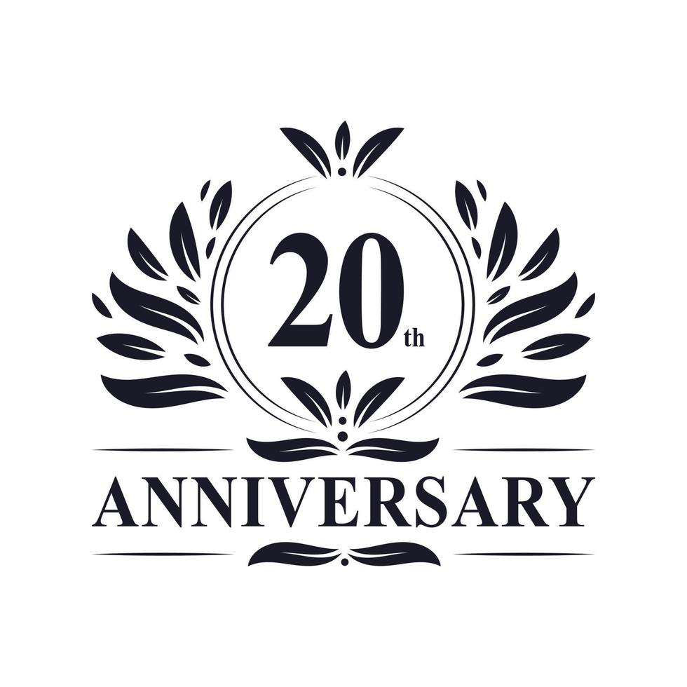Celebrazione del 20 ° anniversario, design lussuoso del logo dell'anniversario di 20 anni. vettore