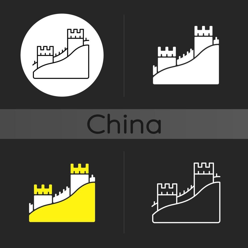l'icona del tema scuro della grande muraglia vettore