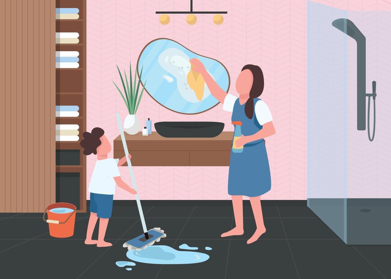 pulizie di primavera nell'illustrazione di vettore di colore piatto del bagno