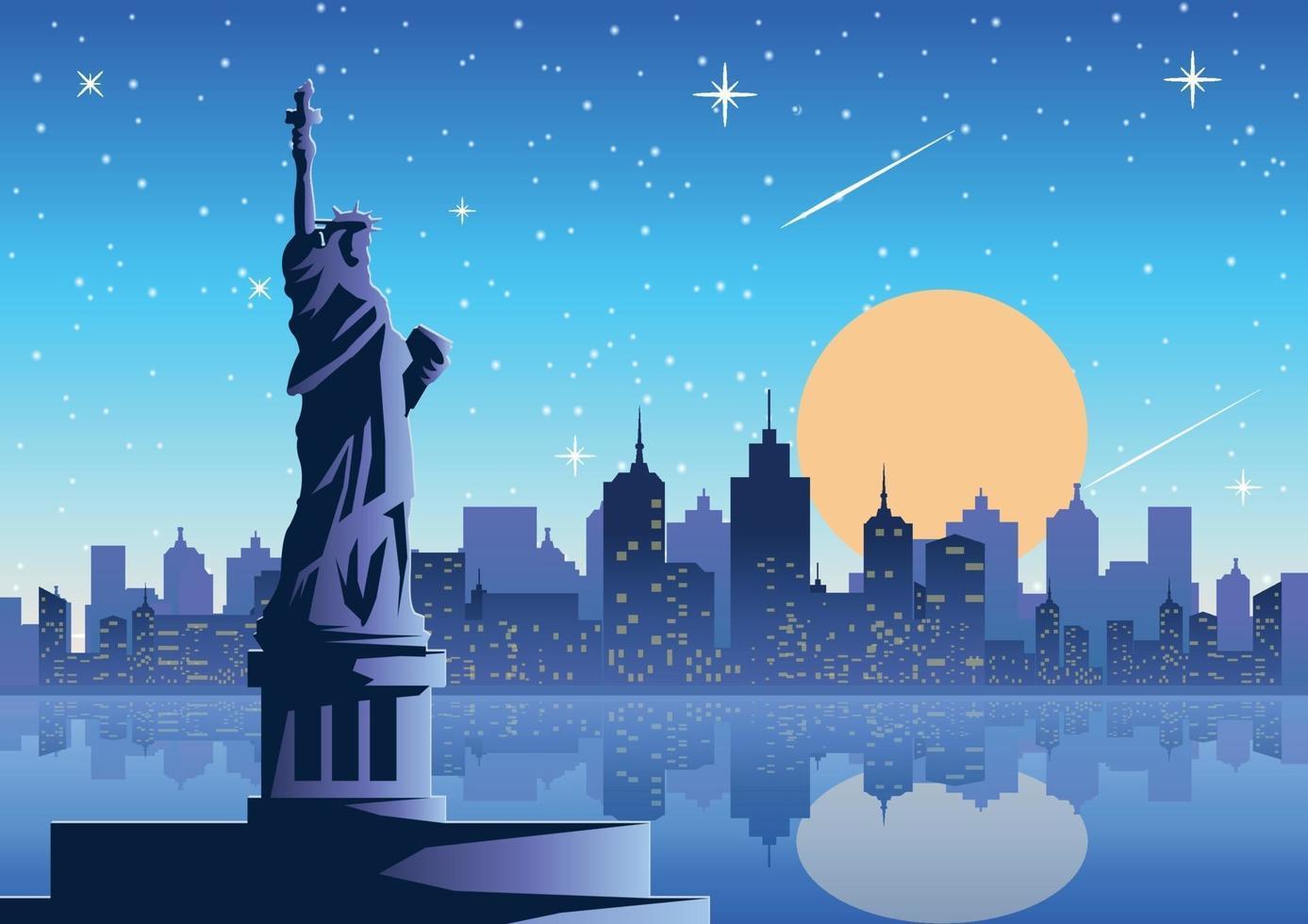 statua della libertà di notte vettore