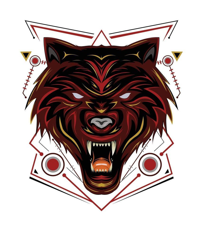logo lupo rosso, vettore di lupi, illustrazione di testa di lupo per maglietta, decorazione murale, custodia per telefono e altri design