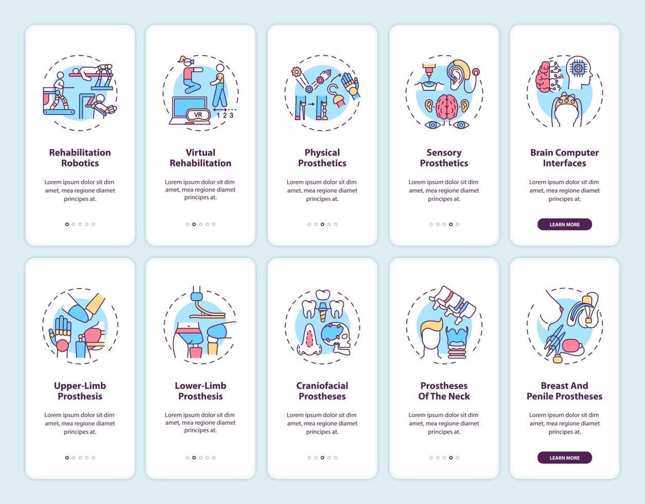 Schermata della pagina dell'app mobile di onboarding per la riabilitazione protesica con set di concetti vettore