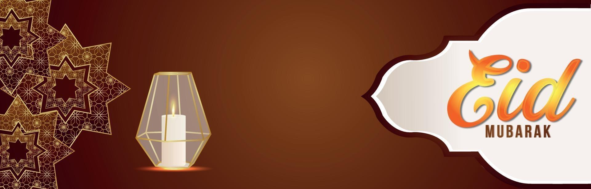 banner o intestazione del festival islamico di eid mubarak con lanterna realistica creativa vettore