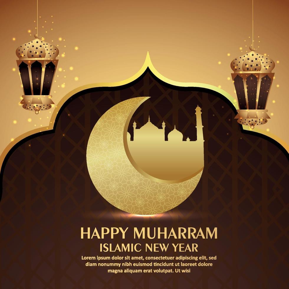 design di carta di invito capodanno islamico con sfondo pattern con lanterna dorata vettore