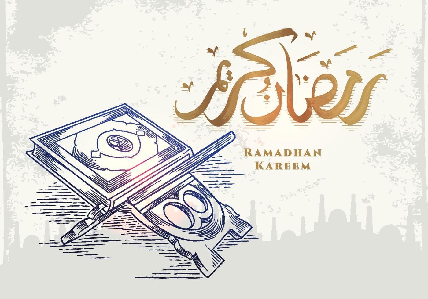 biglietto di auguri di ramadan kareem con corano astratto vettore