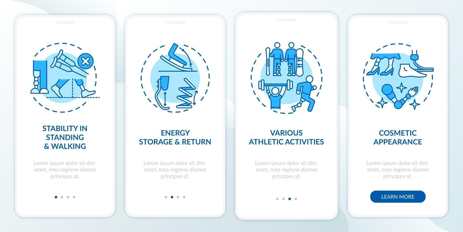 attività di protesi degli arti inferiori onboarding schermata della pagina dell'app mobile con concetti vettore