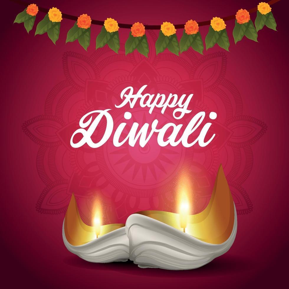 felice sfondo di festival tradizionale indiano di diwali con diwali diya creativo vettore