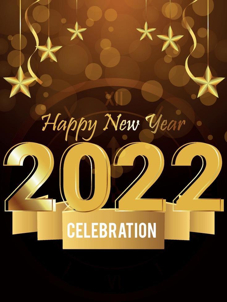 effetto testo dorato lucido del 2022 con sfondo creativo vettore
