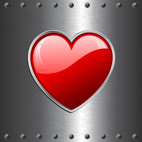 cuore su fondo in metallo vettore