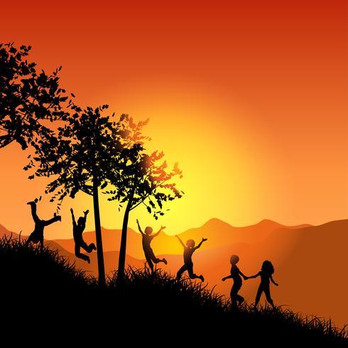 Bambini che corrono su una collina erbosa vettore