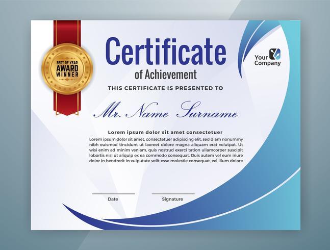 Modello di certificato professionale multiuso vettore