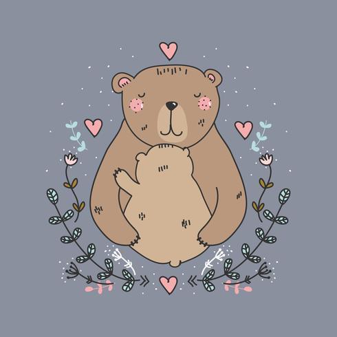 Bear mamma e bambino vettoriale