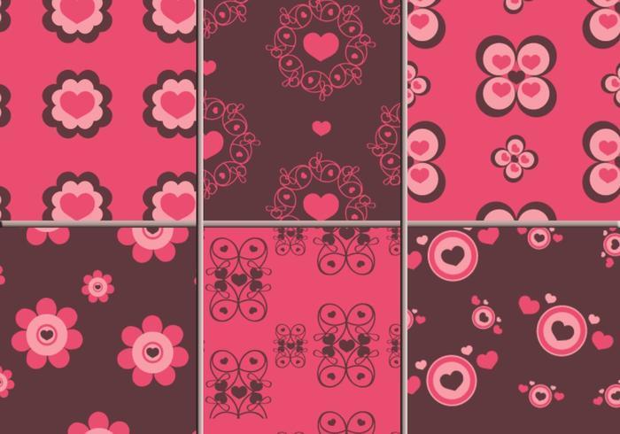Pattern di Illustrator di cuori rosa e marrone vettore