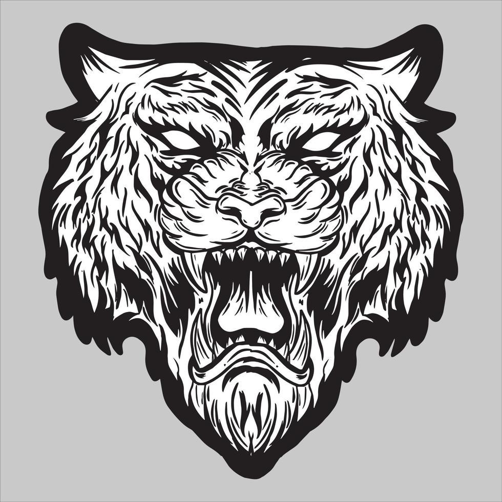 testa di tigre arrabbiata ruggente illustrazione vettoriale bianco nero