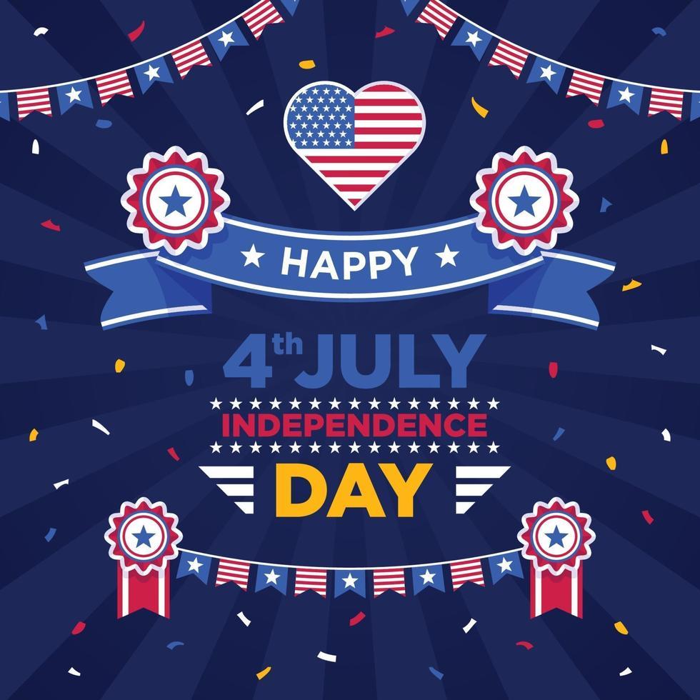 4 luglio festa dell'indipendenza illustrazione vettore