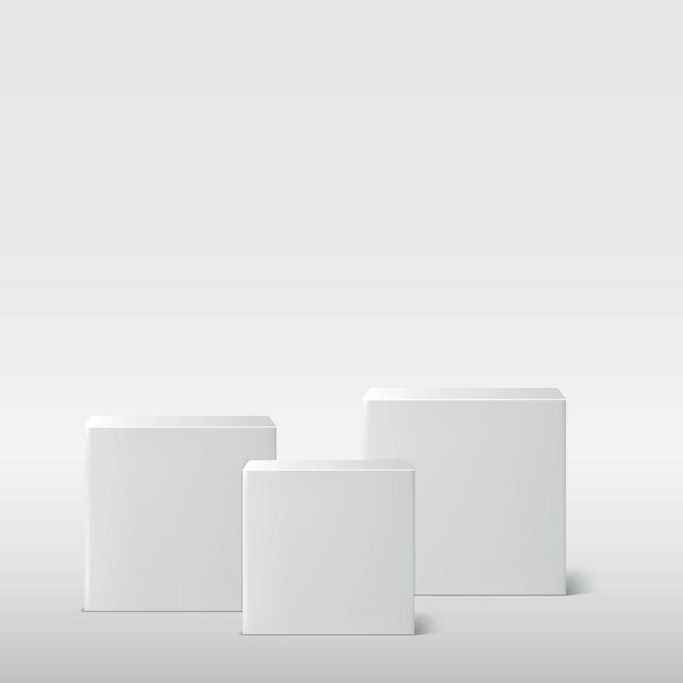 realistico grigio - studio bianco, podio di cubi bianchi - vettore