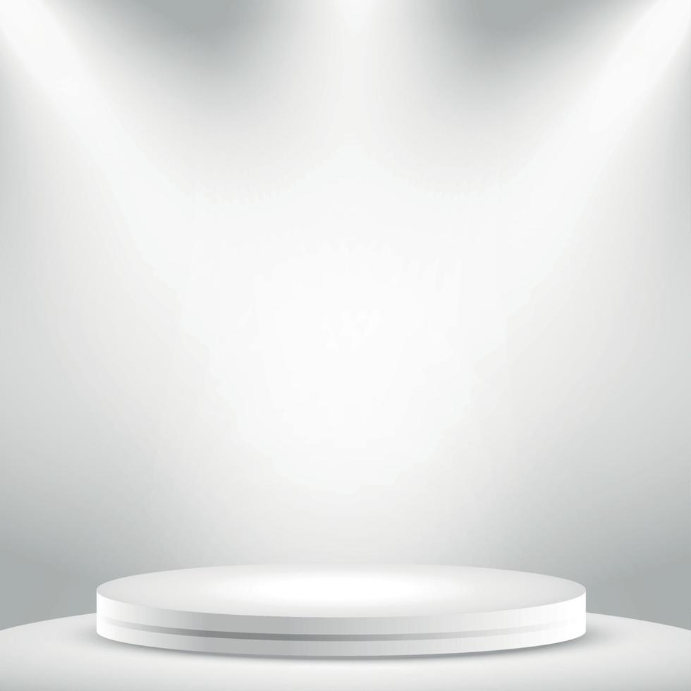 realistico grigio - studio bianco, podio rotondo bianco - vettore