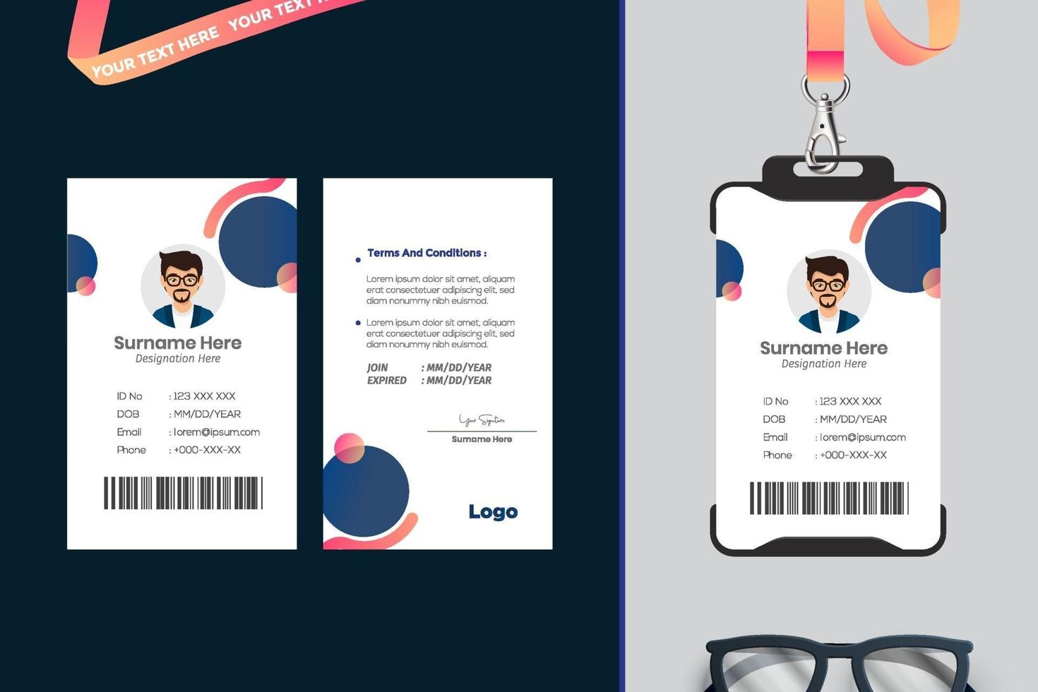 design semplice modello di carta d'identità con il vettore