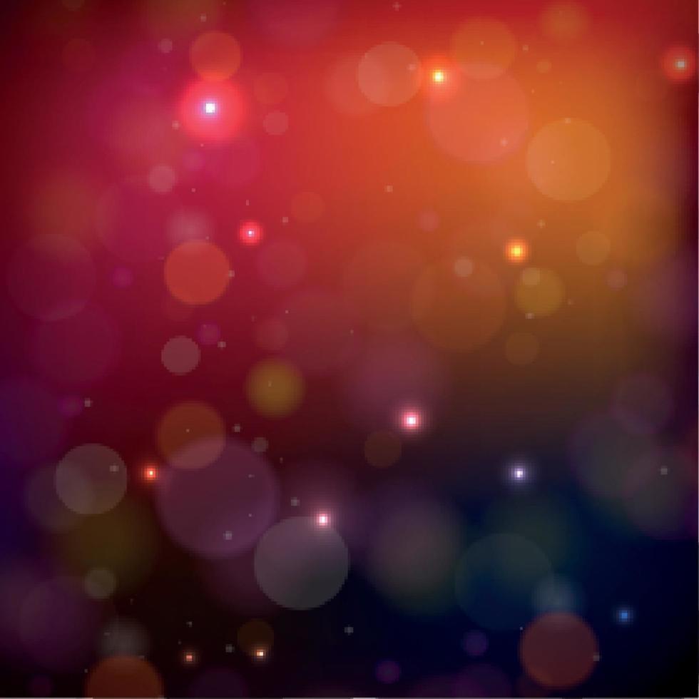 bokeh sfocato multicolore su uno sfondo rosso vettore