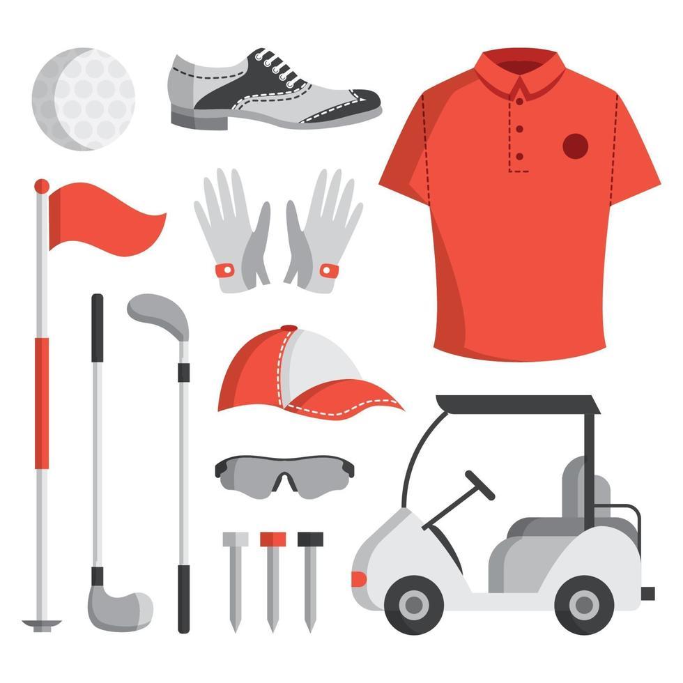 set di icone di attrezzature da golf vettore