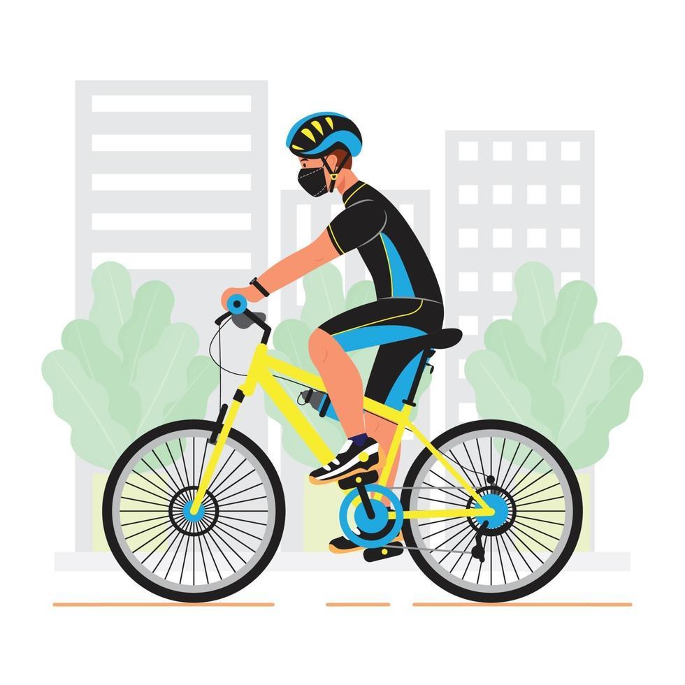 un uomo in sella a una bicicletta vettore