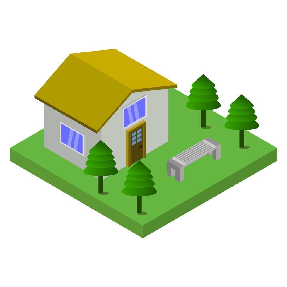 casa isometrica su sfondo bianco vettore