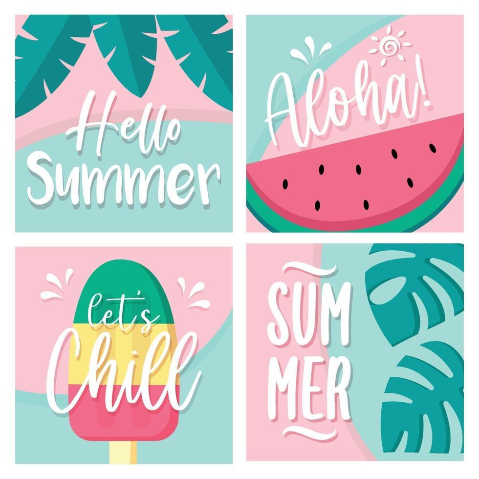 set di carte estive vettore