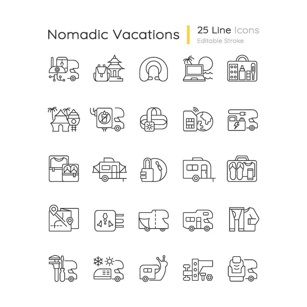 set di icone lineare di vacanze nomadi vettore