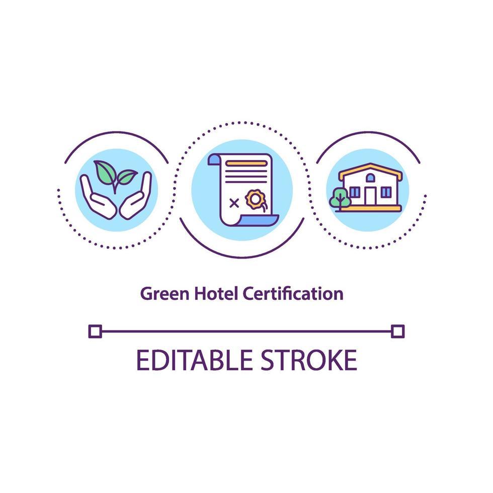 icona del concetto di certificazione hotel verde vettore