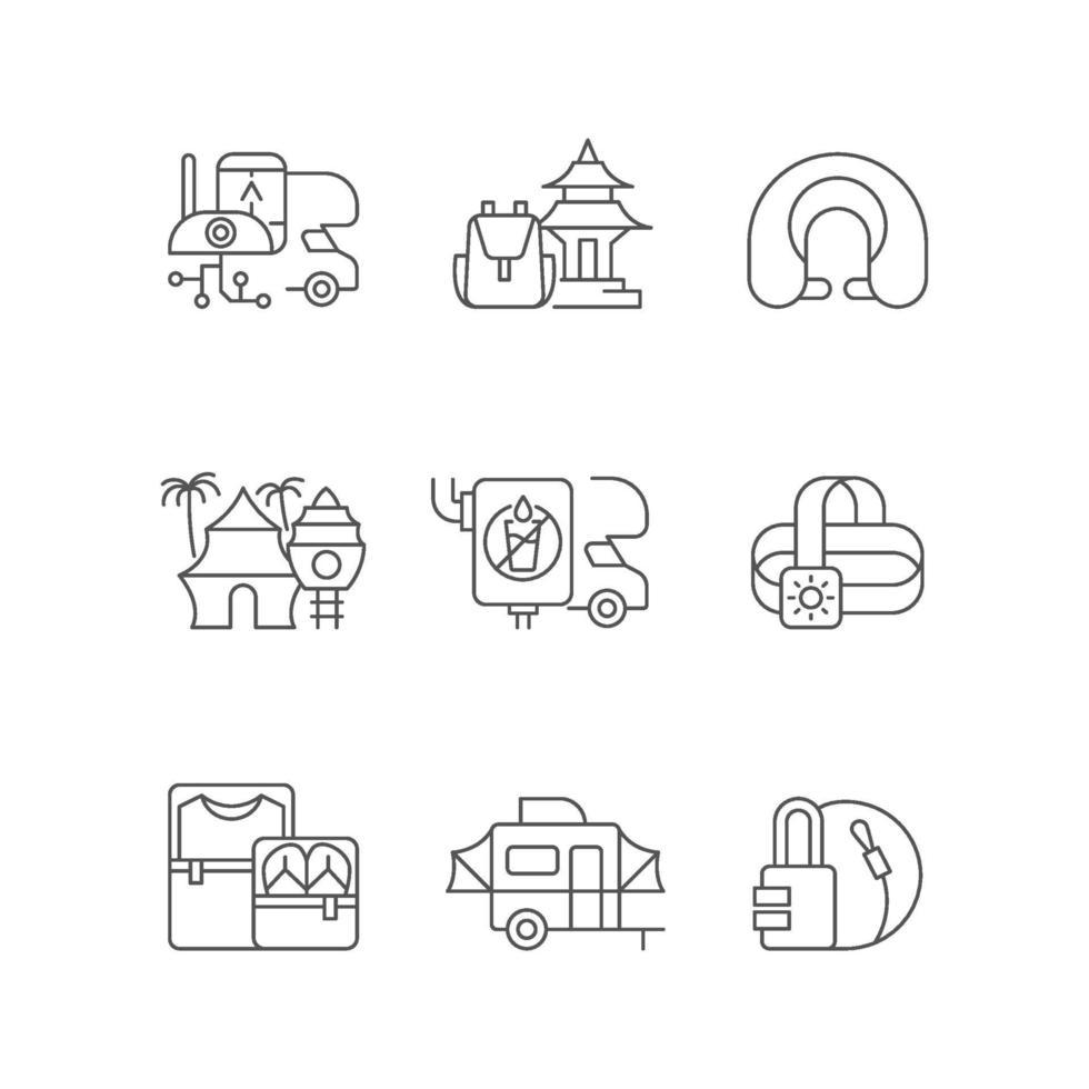 set di icone lineare roadtrip vettore