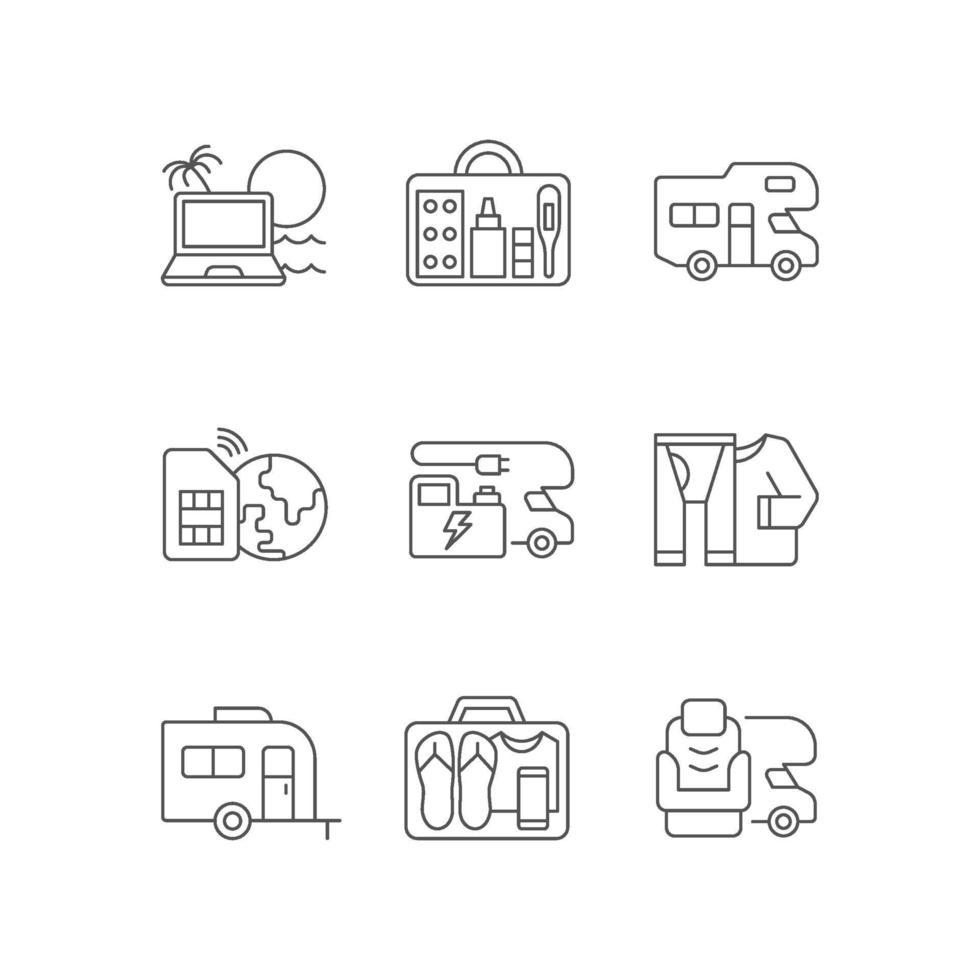 set di icone lineare di viaggio vettore