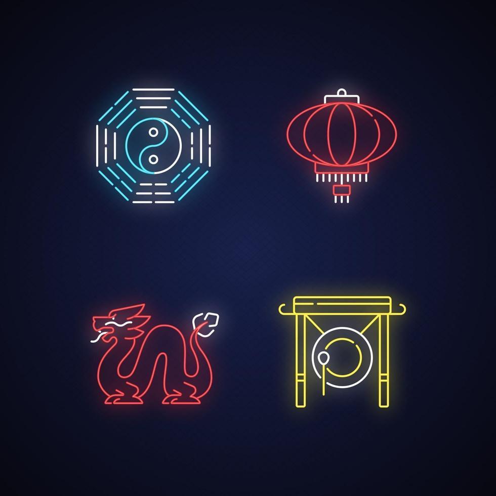 nuovo anno lunare attributi set di icone di luce al neon vettore