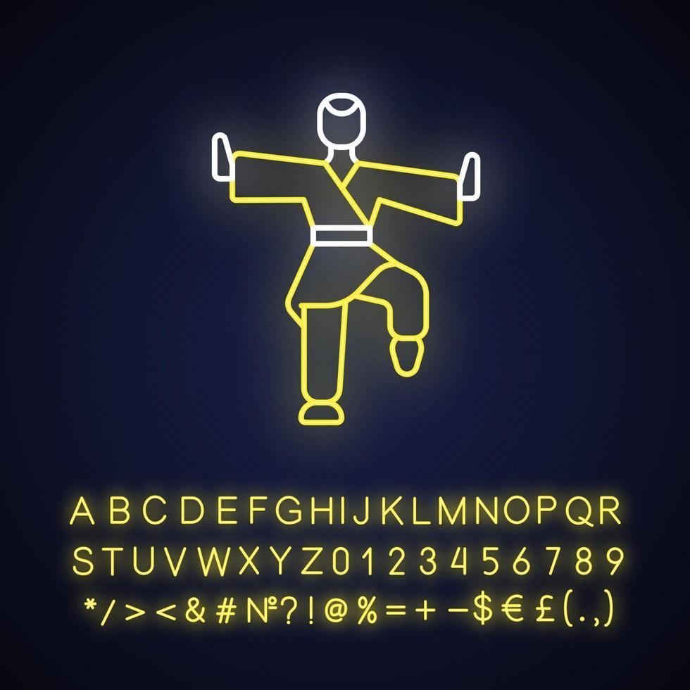 icona di luce al neon di kung fu vettore